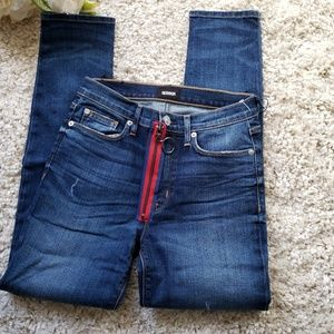 Hudson jeans barbara exposed red zipper jeans sz27